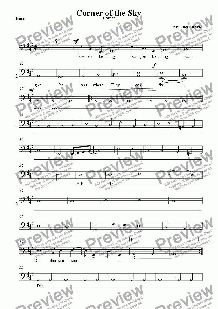 page one of the Bass part from Corner of the Sky