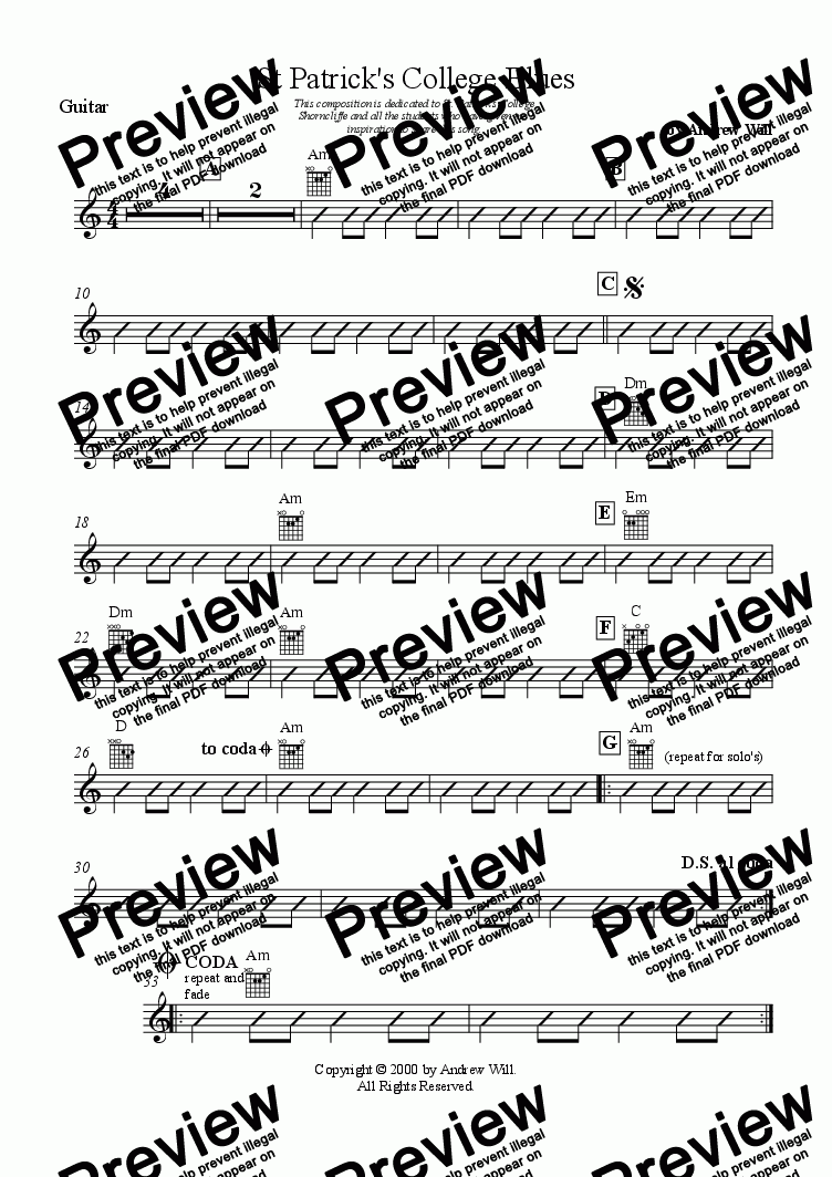 page one of the guitar part from St. Patrick's College Blues