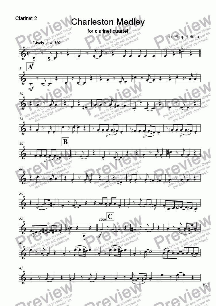 page one of the Clarinet 2 part from Charleston Medley (Clarinet Quartet)