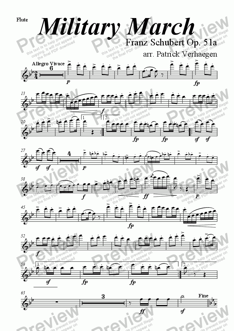 page one of the flute part from Military March (for wind band)
