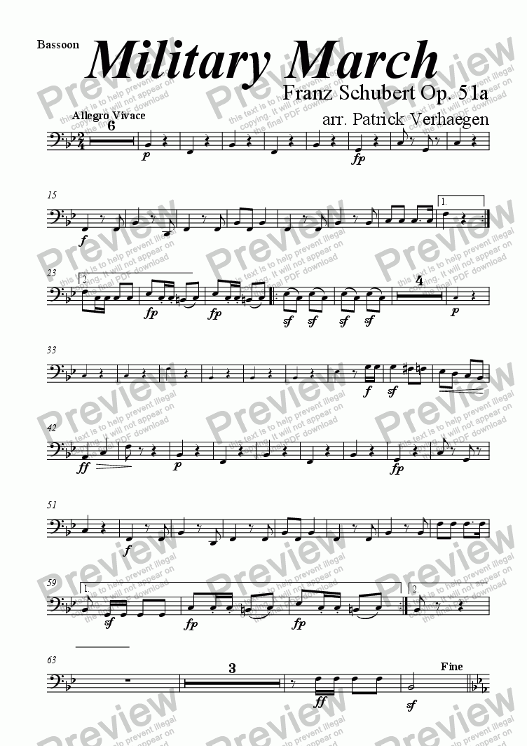 page one of the bassoon part from Military March (for wind band)