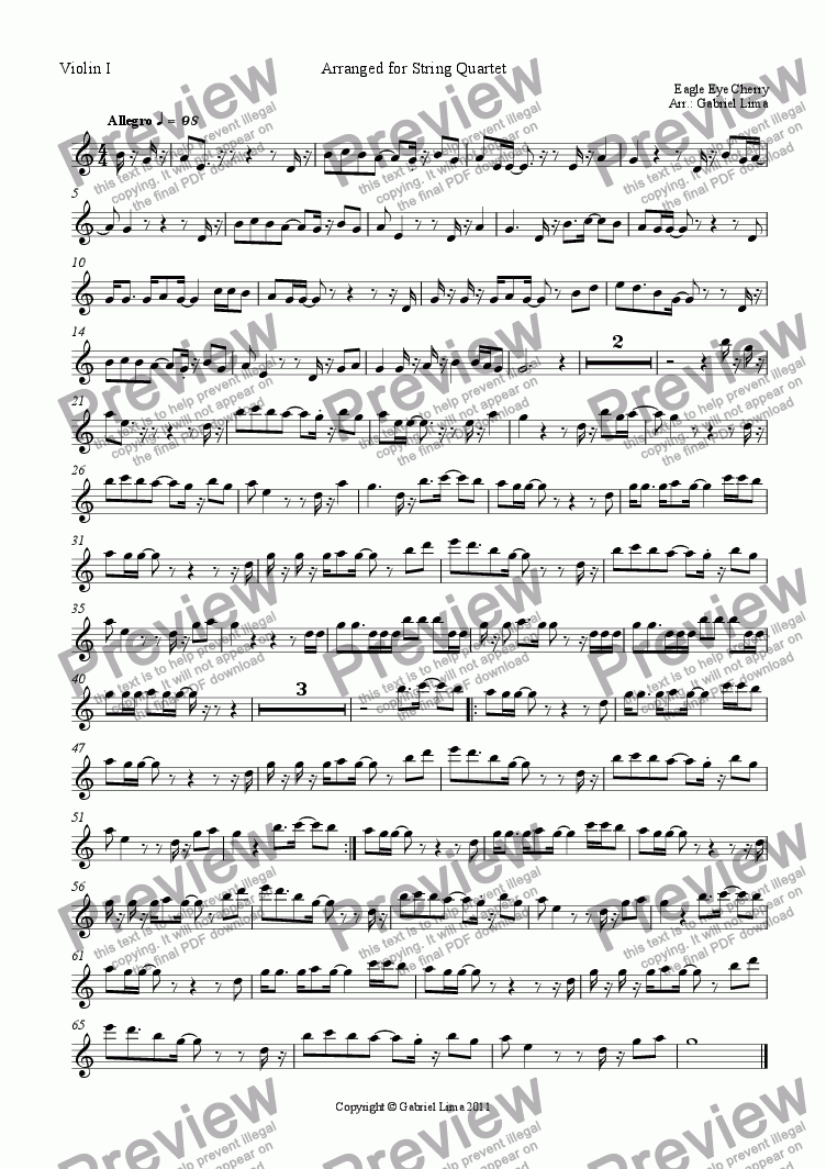 page one of the Violin I part from Falling in Love Again