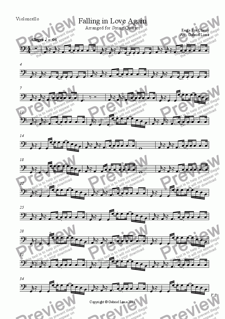 page one of the Violoncello part from Falling in Love Again
