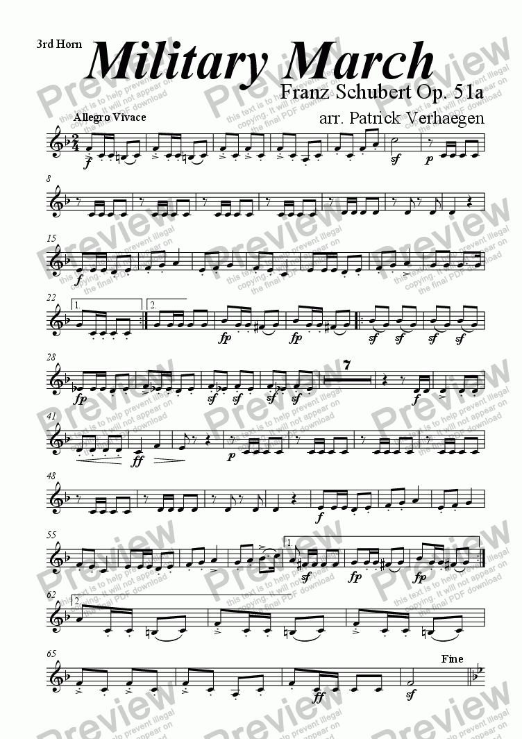 page one of the 3rd horn part from Military March (for wind band)