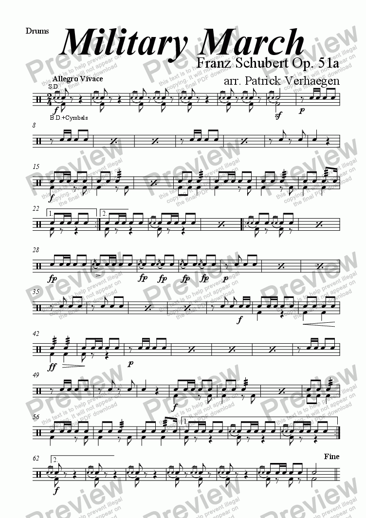 page one of the drums part from Military March (for wind band)