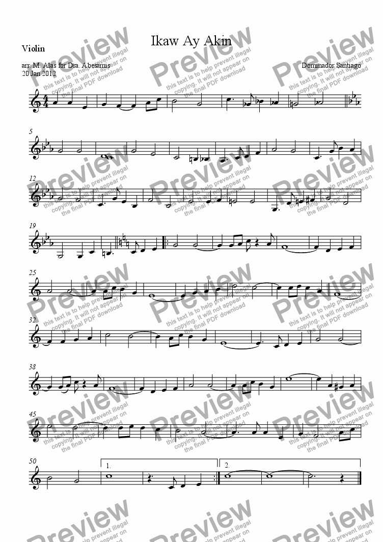 page one of the Violin part from Ikaw Ay Akin