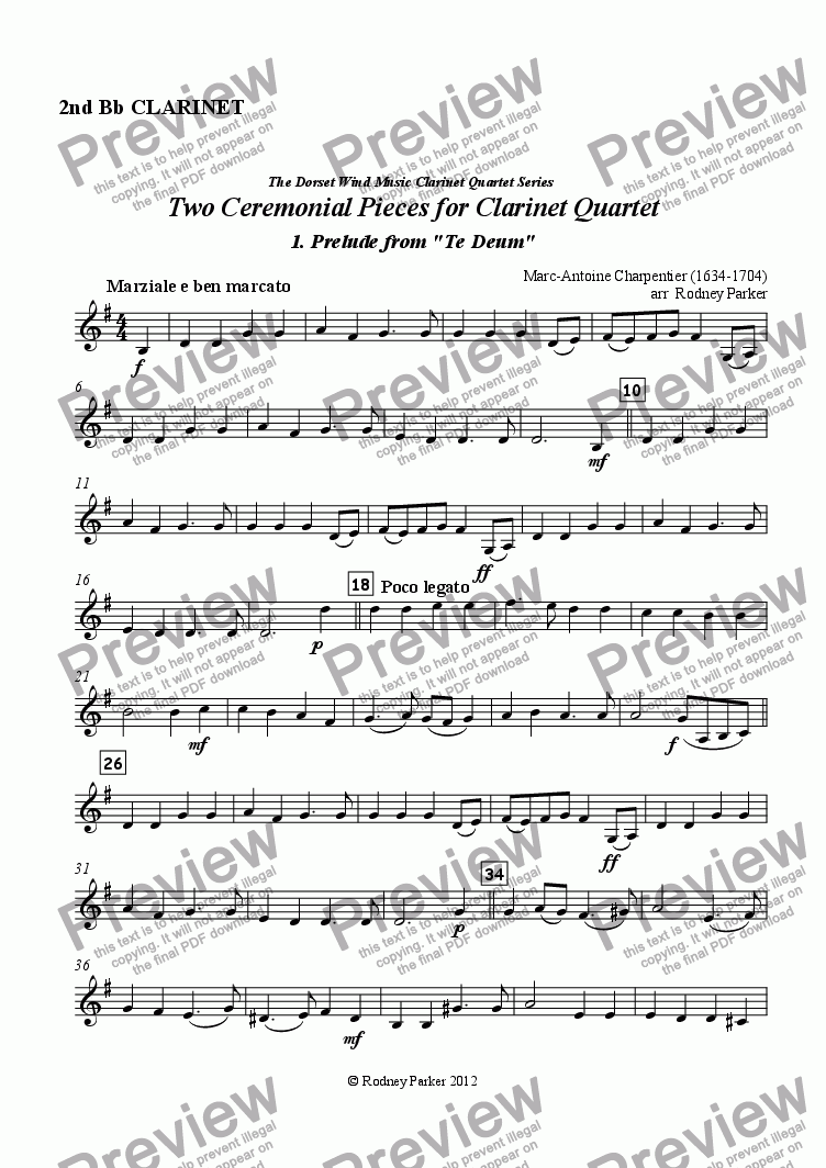 page one of the 2nd Bb Clarinet part from Two Ceremonial Pieces for Clarinet Quartet