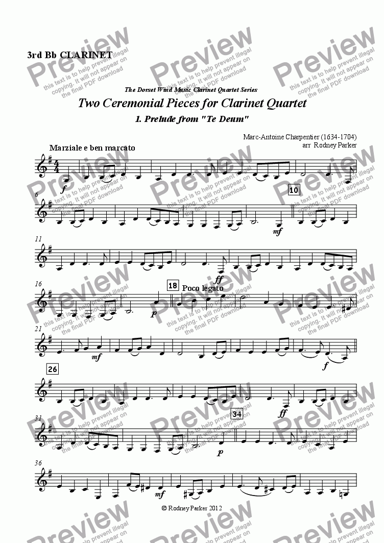 page one of the 3rd Bb Clarinet part from Two Ceremonial Pieces for Clarinet Quartet