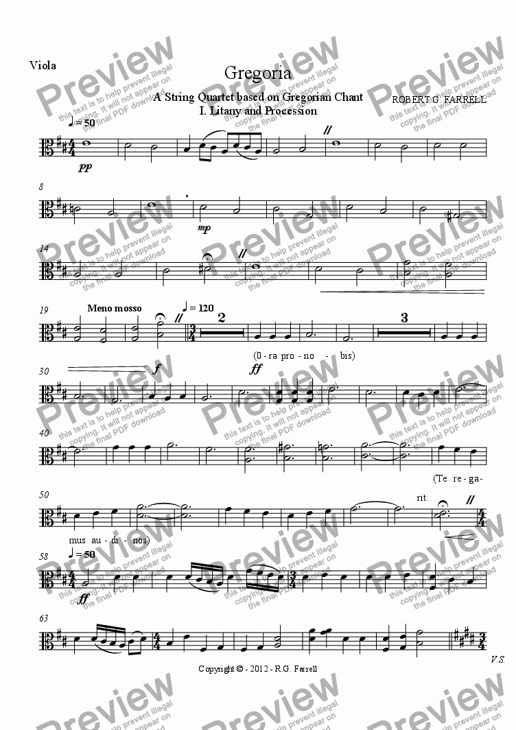 page one of the Viola part from Gregoria