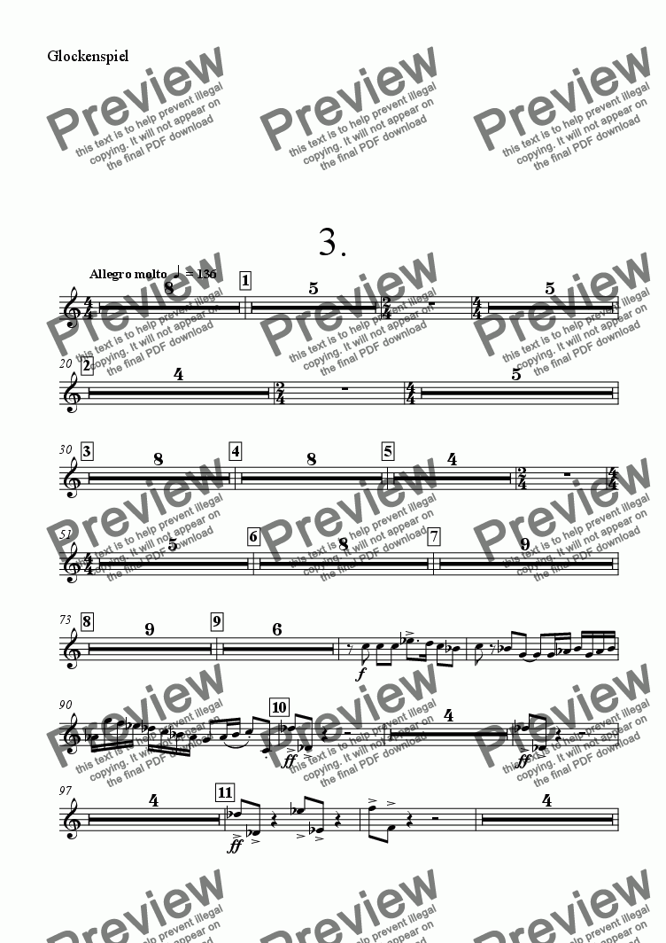 page one of the Glockenspiel part from Symphony No 69 3rd mvt
