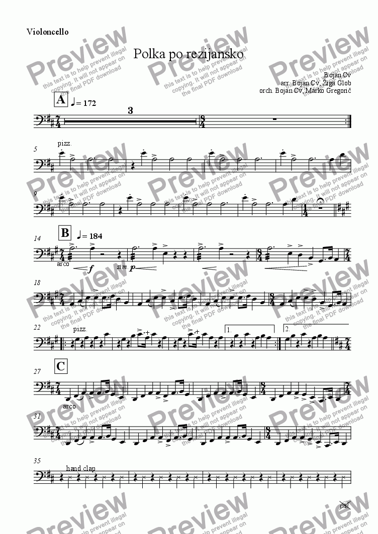 page one of the Violoncello part from Polka po rezijansko