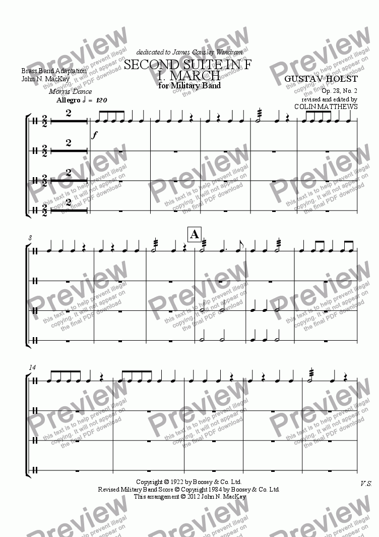 page one of the Percussion part from SECOND SUITE IN F
