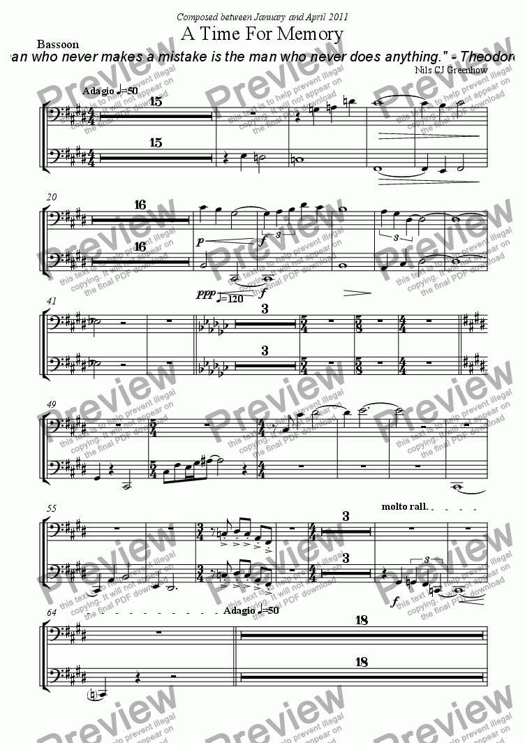 page one of the Bassoon part from A Time For Memory