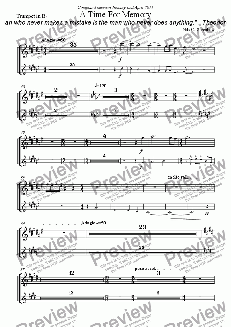 page one of the Trumpet in B^b part from A Time For Memory
