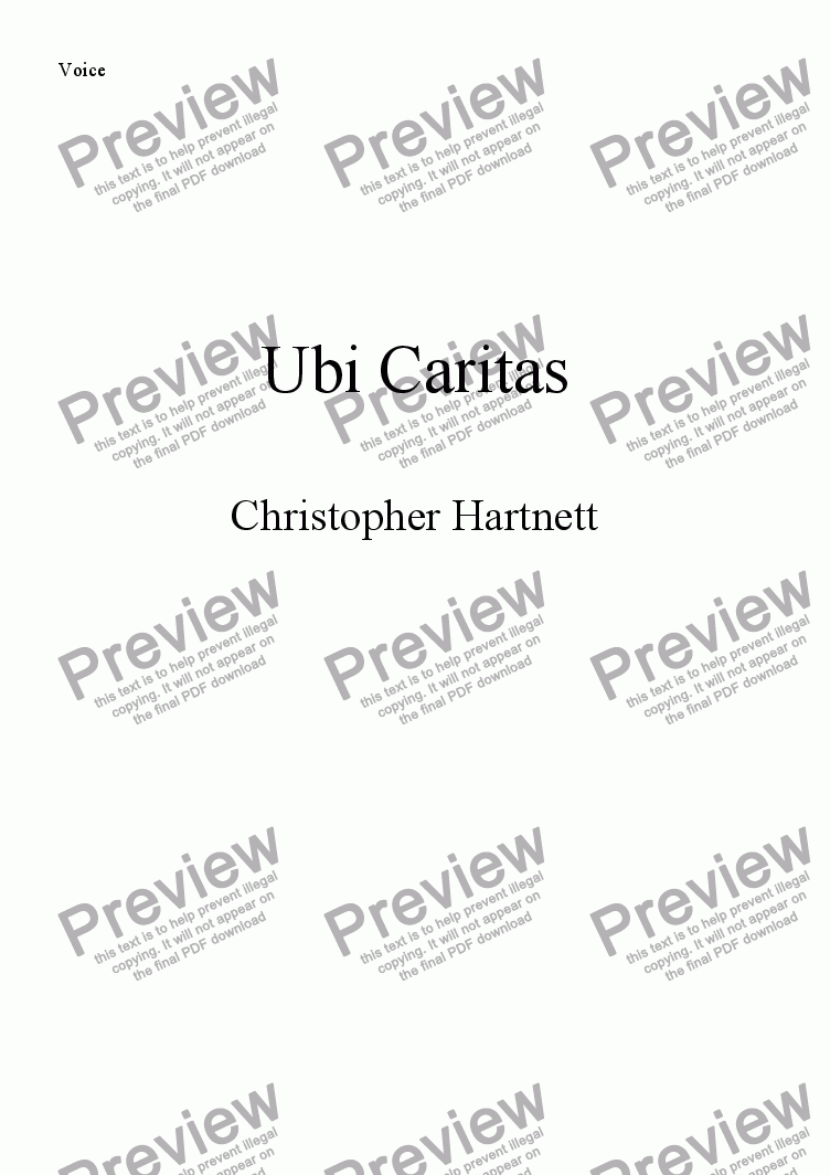 page one of the Voice part from Ubi Caritas