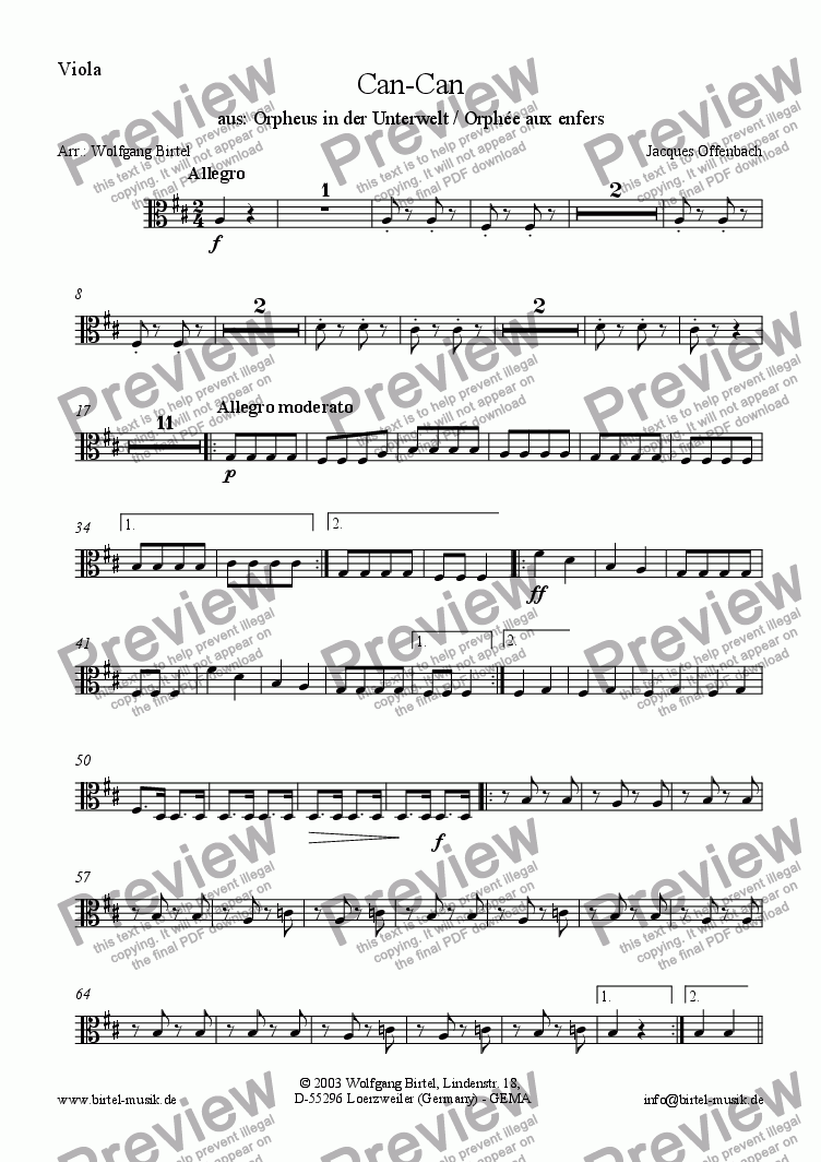 page one of the Viola part from Can-Can / Galop (Can Can) (For Strings)