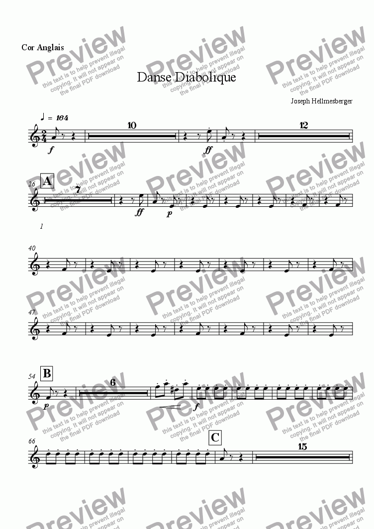 page one of the Cor Anglais part from Danse Diabolique