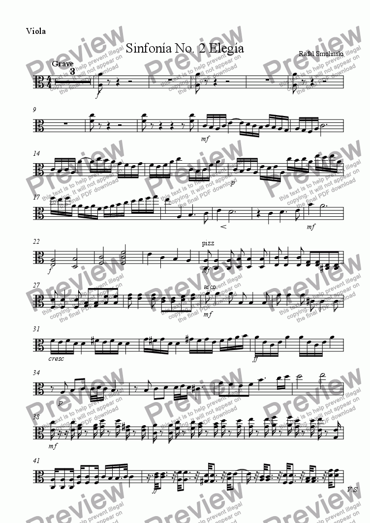 page one of the Viola part from Sinfonía No. 2 Elegía