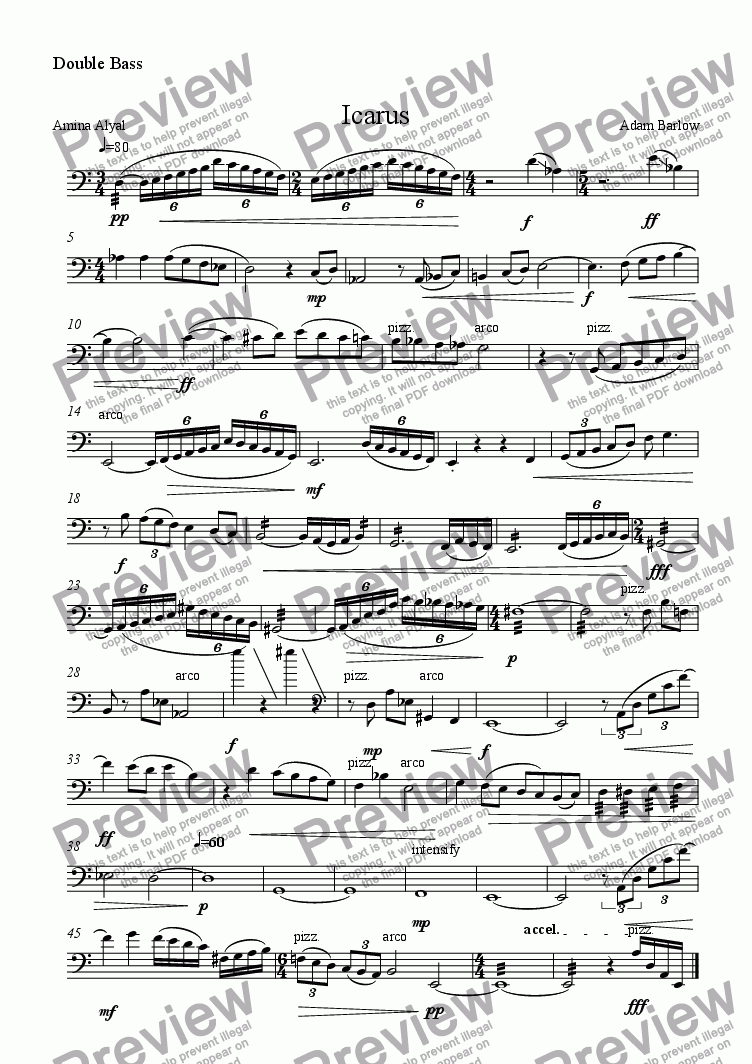 page one of the Double Bass part from Icarus