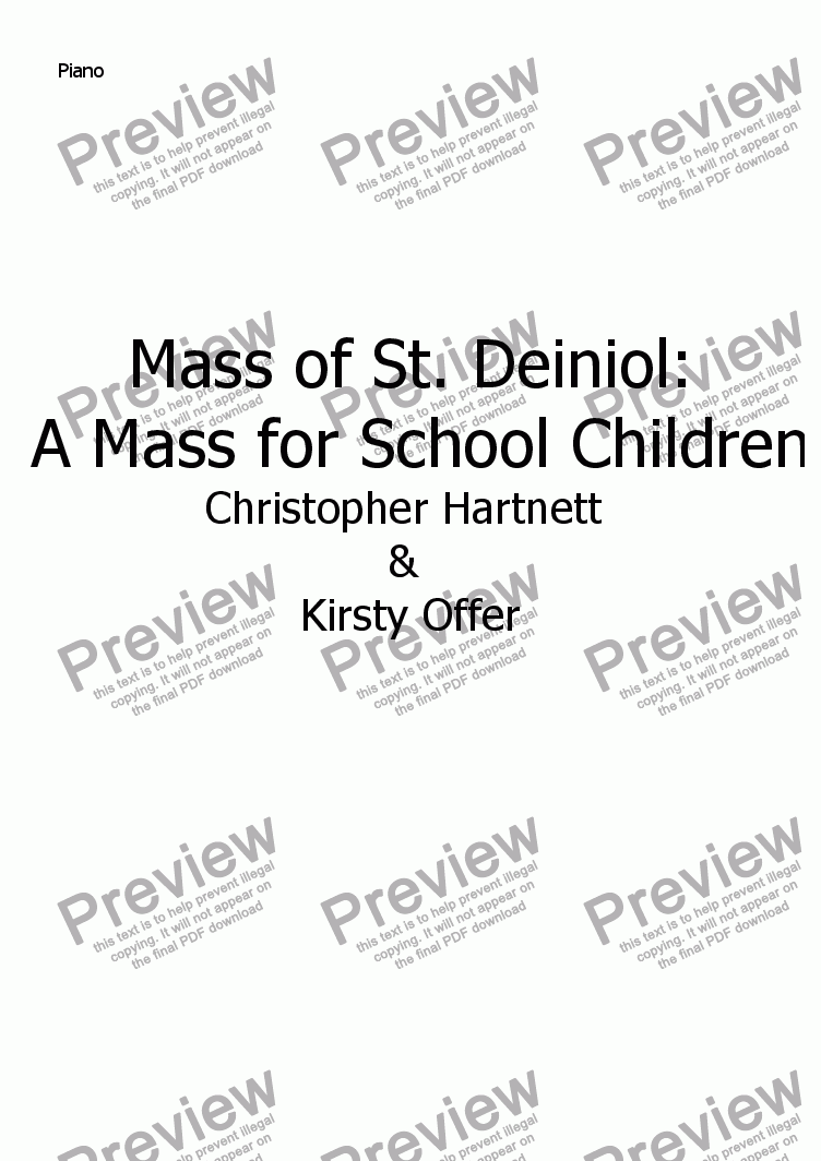 page one of the Piano part from Mass of St. Deiniol:  A Mass for School Children