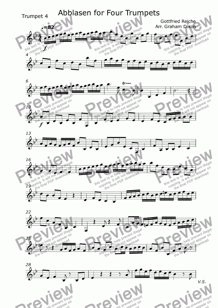 page one of the Trumpet 4 part from Abblasen for Four Trumpets