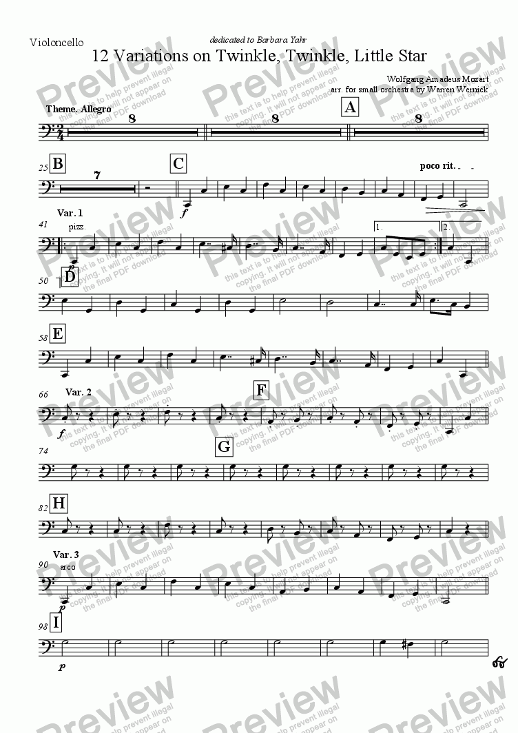 page one of the Violoncello part from 12 Variations on Twinkle, Twinkle, Little Star