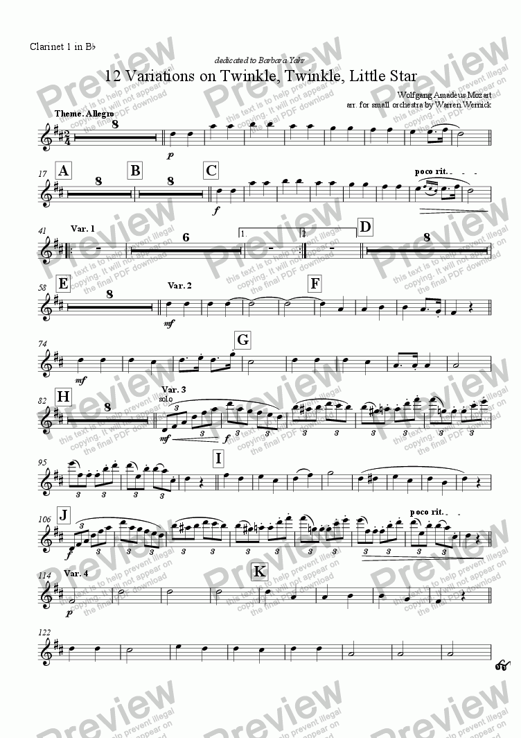 page one of the Clarinet 1 in B^b part from 12 Variations on Twinkle, Twinkle, Little Star