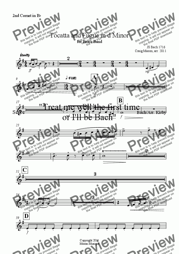 page one of the 2nd Cornet in B^b part from Tocatta and Fugue in d Minor for Brass Band