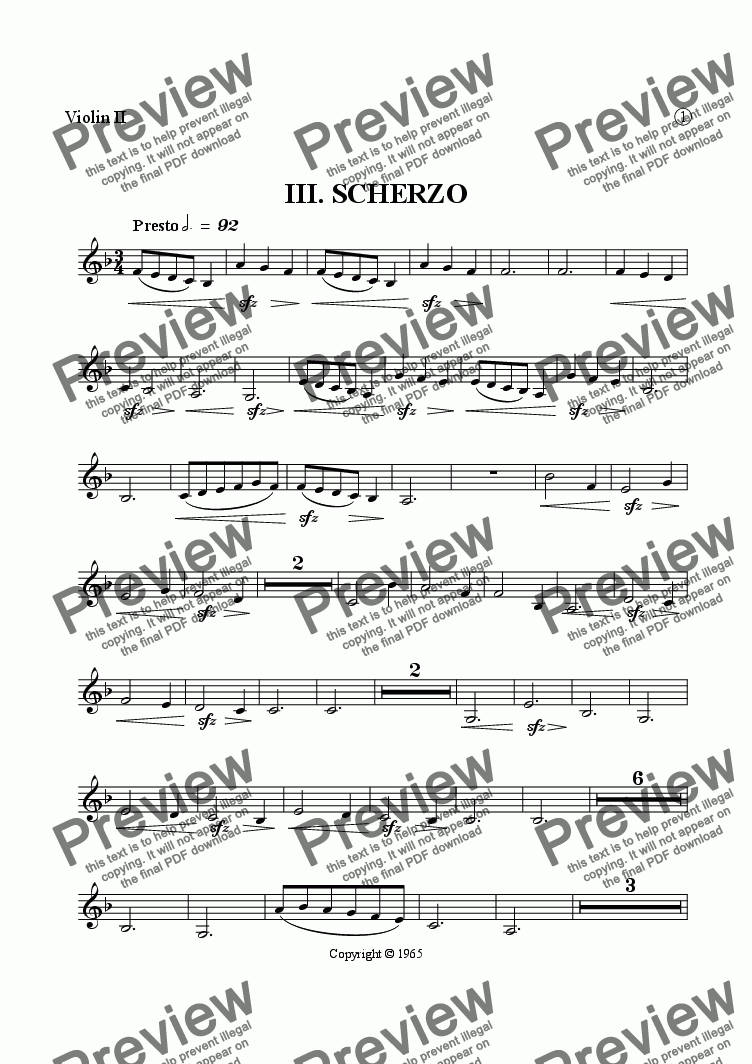 page one of the Violin II part from Symphony No. 1, Movement 3 (Film Orchestra Version)