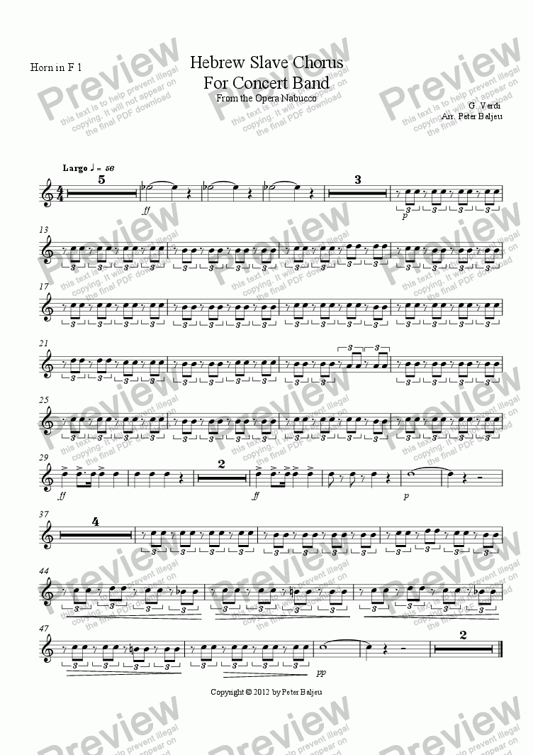 page one of the Horn in F 1 part from Hebrew Slave Chorus For Concert Band