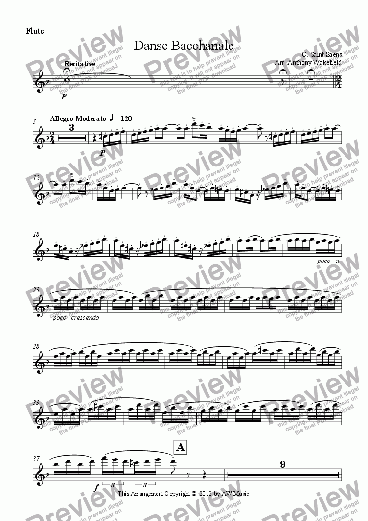 page one of the Flute part from Danse Bacchanale
