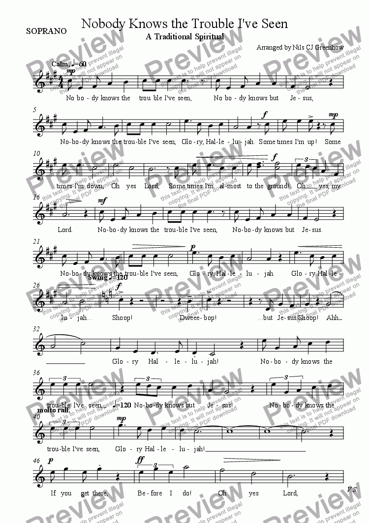 page one of the SOPRANO part from Nobody Knows the Trouble I've Seen
