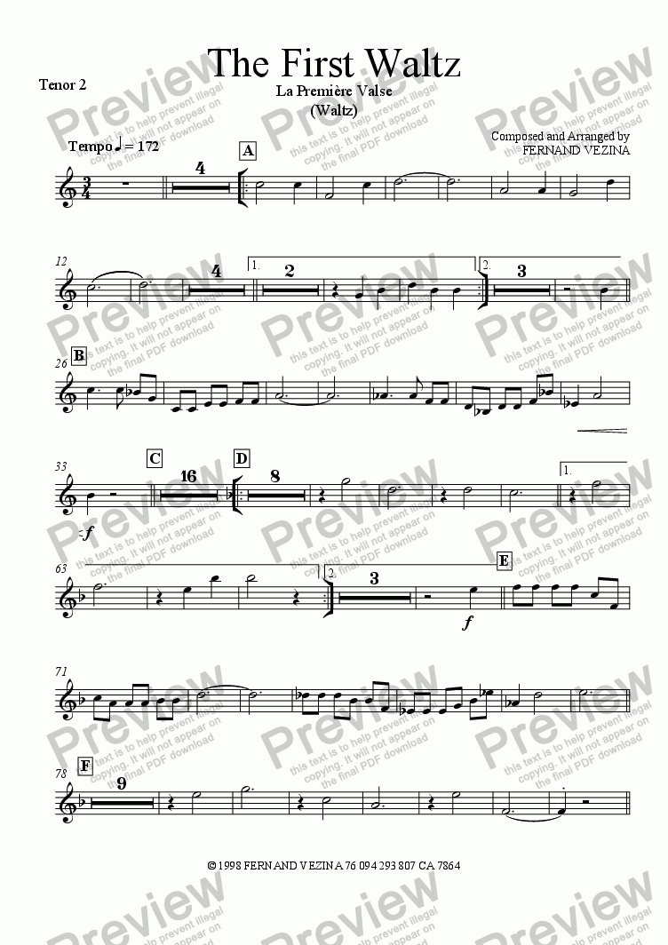 page one of the Tenor Sax 2 part from The First Waltz