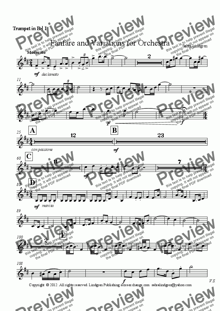 page one of the Trumpet in B^b^I I part from Fanfare and Variations for Orchestra