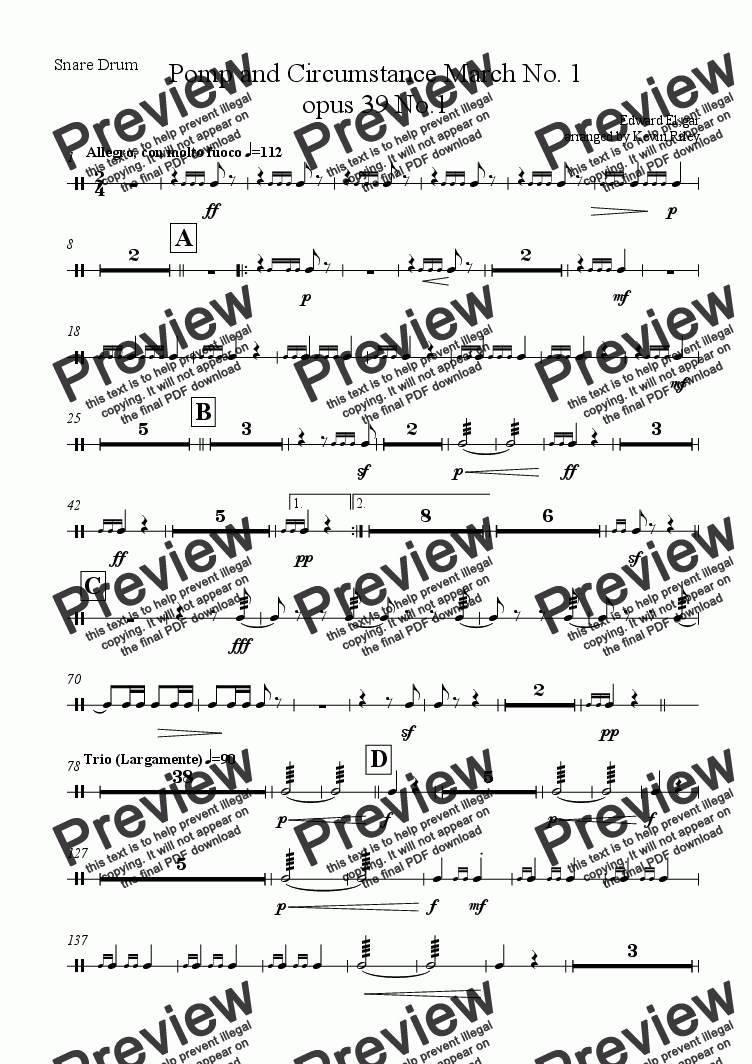 page one of the Snare Drum part from Pomp and Circumstance March No. 1 opus 39 No.1