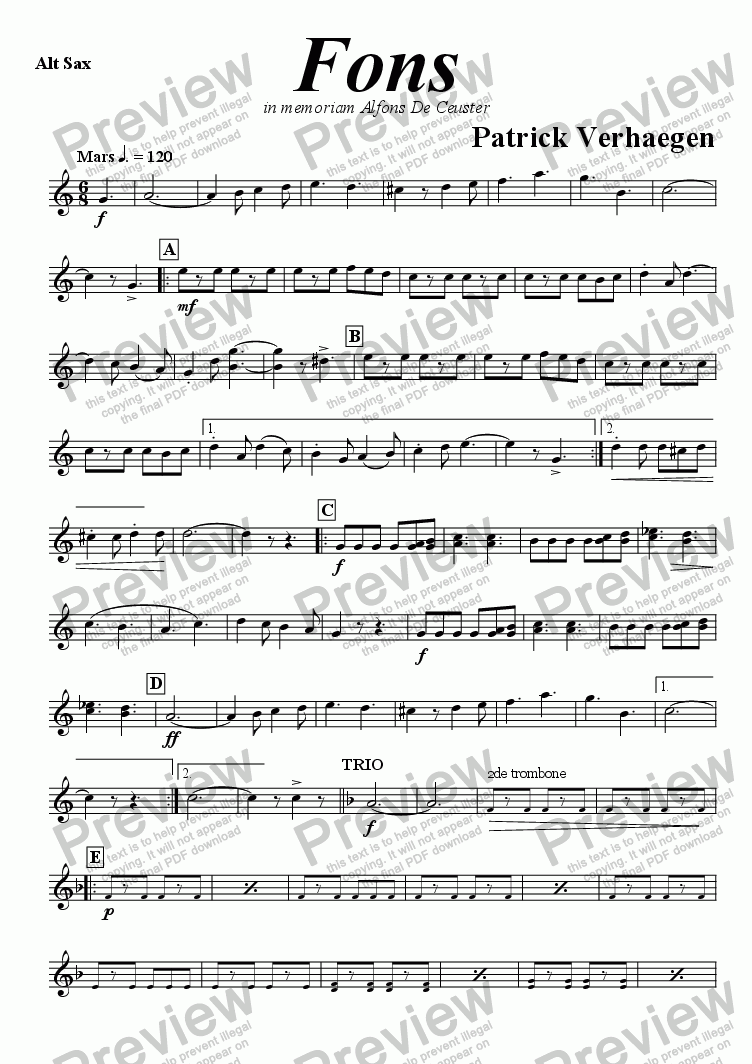page one of the sax alto part from Fons (march for fanfare band)