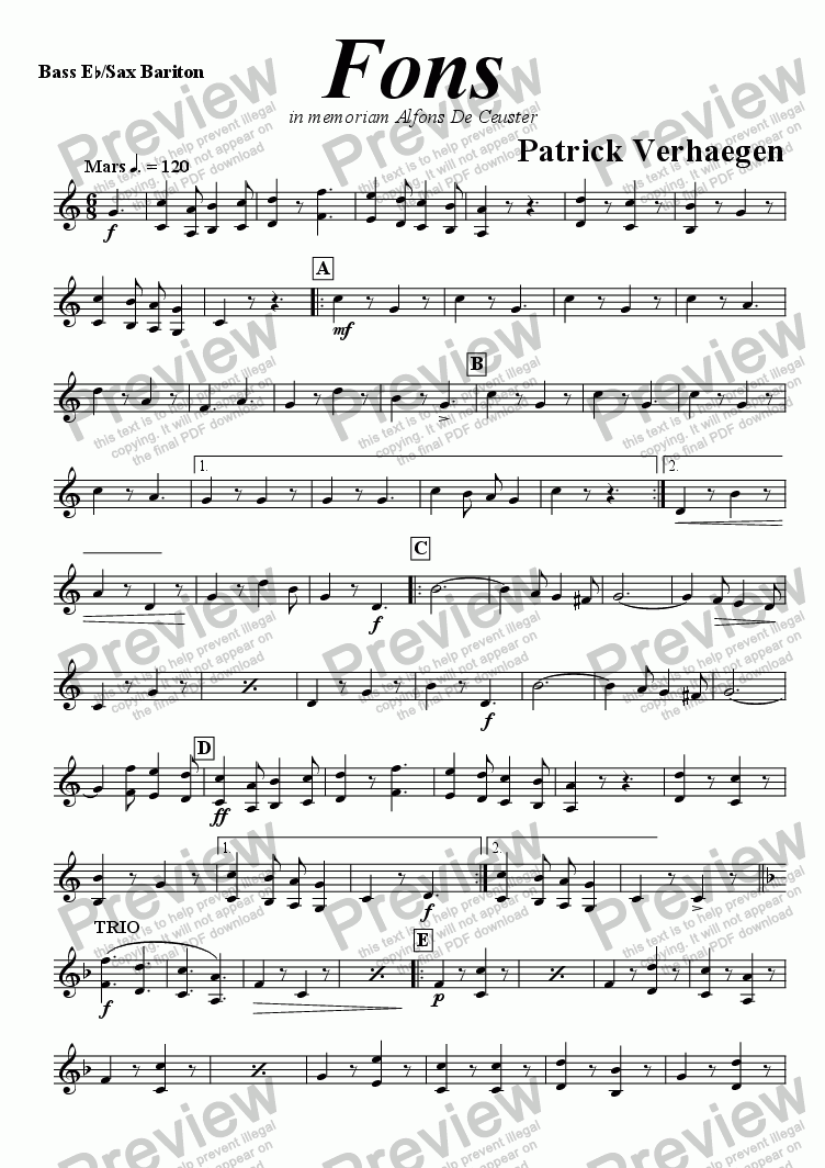 page one of the sax bariton part from Fons (march for fanfare band)