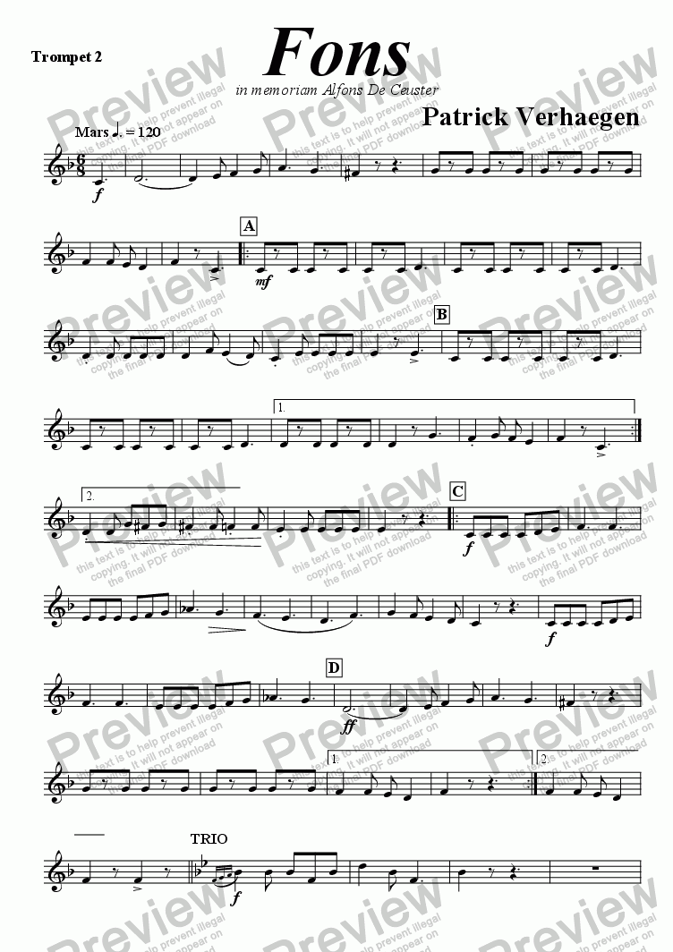 page one of the trompet 2 part from Fons (march for fanfare band)