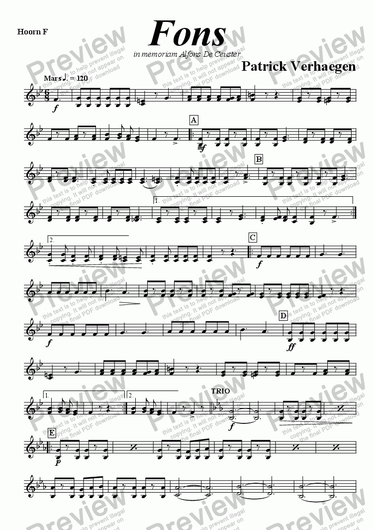 page one of the hoorn F part from Fons (march for fanfare band)