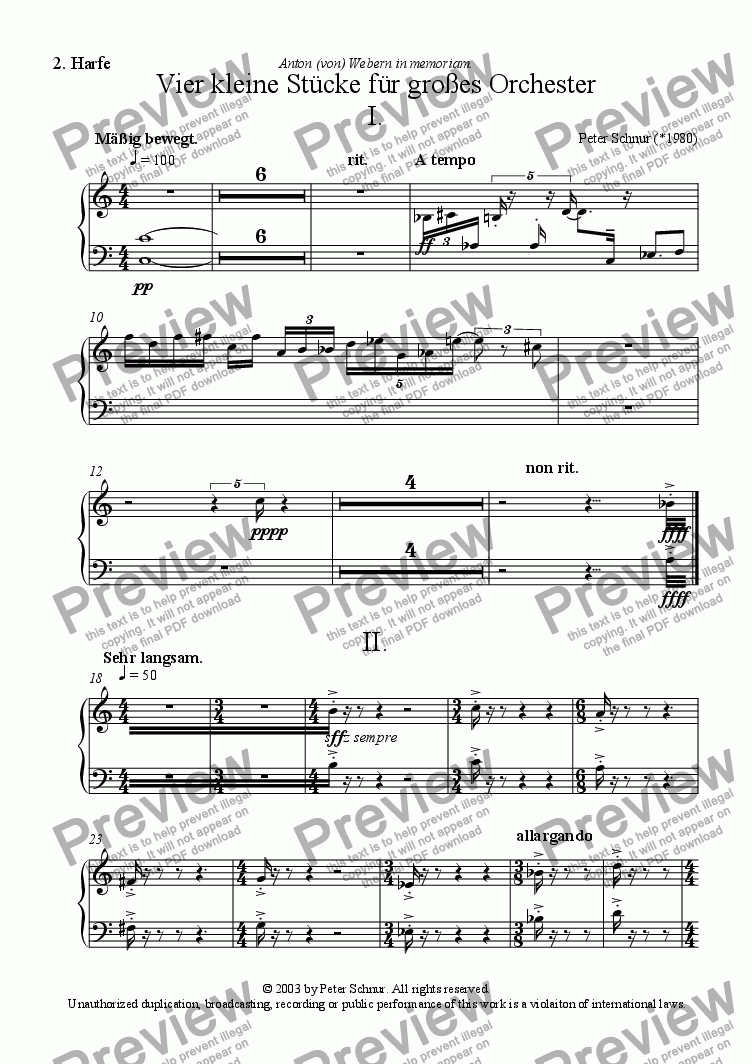 page one of the II Harp part from 4 kleine St�cke f�r gro�es Orchester