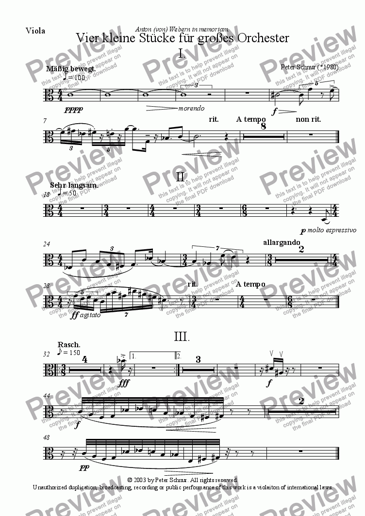 page one of the Viola part from 4 kleine St�cke f�r gro�es Orchester