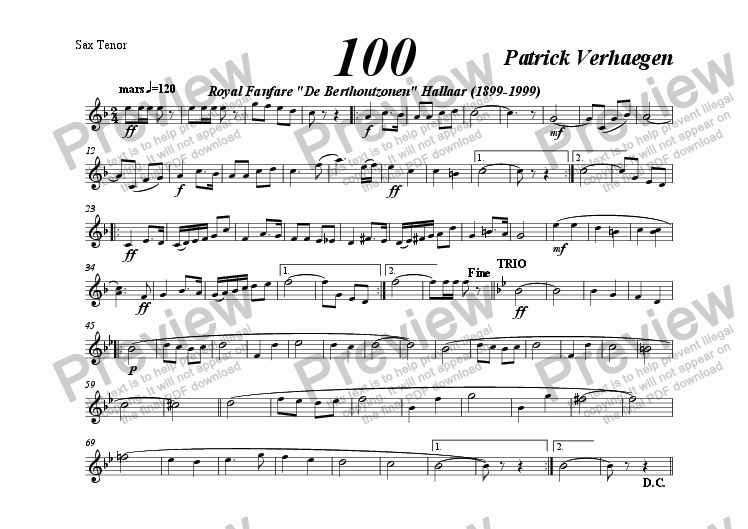 page one of the sax tenor part from 100 (march for fanfare band)