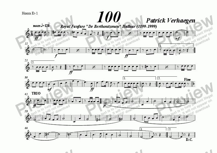 page one of the hoorn, alto Eb 1 part from 100 (march for fanfare band)