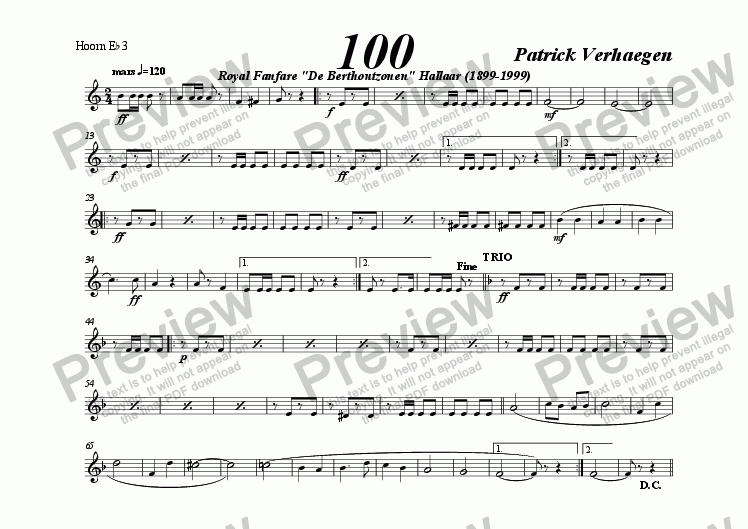 page one of the hoorn, alto Eb 3 part from 100 (march for fanfare band)