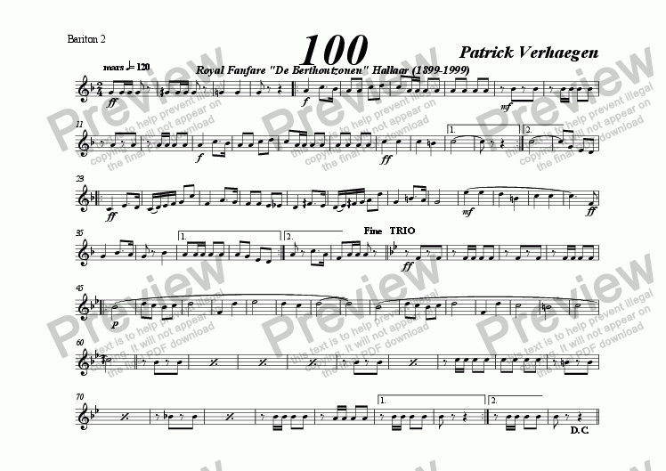 page one of the bariton 2 part from 100 (march for fanfare band)
