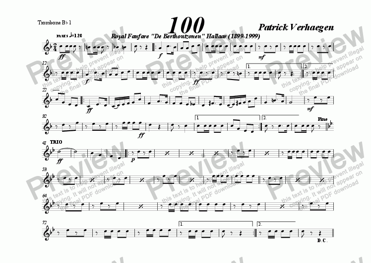 page one of the trombone Bb tc 1 part from 100 (march for fanfare band)