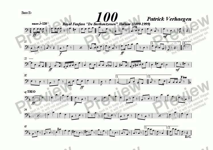 page one of the bas Eb bc part from 100 (march for fanfare band)