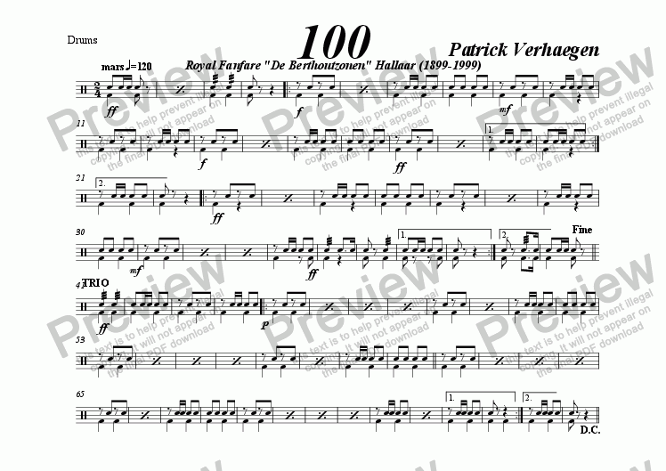 page one of the drums part from 100 (march for fanfare band)