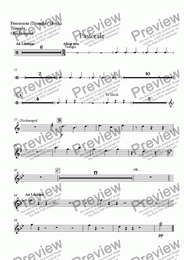page one of the Percussion (Triangle / Glock), Triangle, Glockenspiel part from Pastorale (for Solo Oboe with Wind Ensemble)