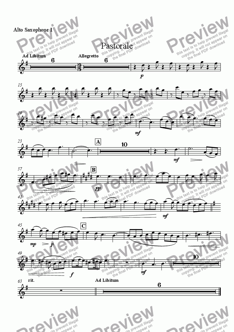 page one of the Alto Saxophone 1 part from Pastorale (for Solo Oboe with Wind Ensemble)